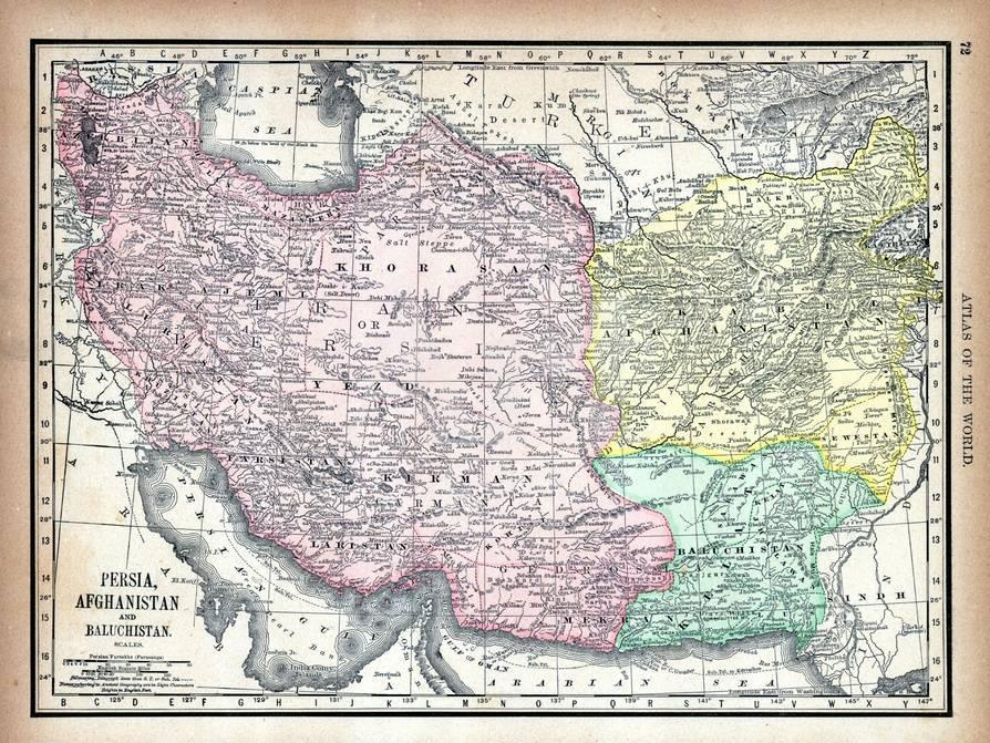 1890 World Map.1890 Afganistan Iran Iraq Asia Persia Afghanistan And
