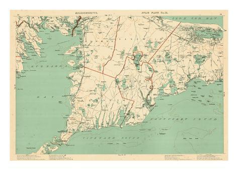1891, Cape Cod, Plymouth, Barnstable, Falmouth, Mashpee, Bourne, Marion, Massachusetts, USA Giclee Print