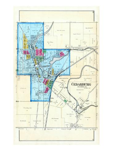 Cedarburg Wisconsin Map.1892 Cedarburg Wisconsin United States Giclee Print By