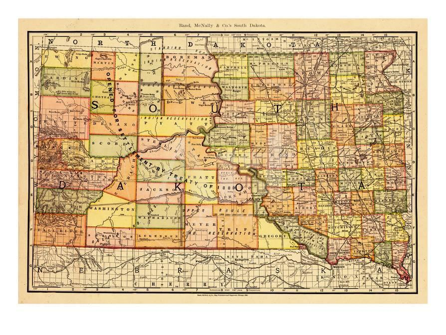 1892 South Dakota State Map South Dakota United States Giclee