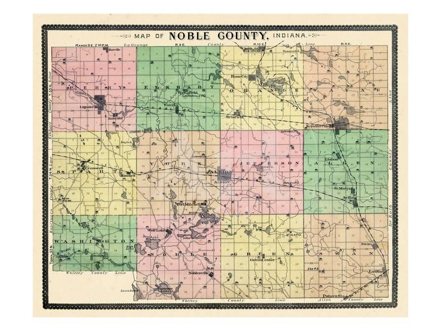 1893, Noble County Map, Indiana, United States