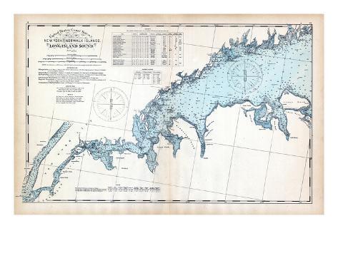1893, United States Coast Survey - New York to Norwalk Islands - Long Island Sound, Connecticut, US Giclee Print