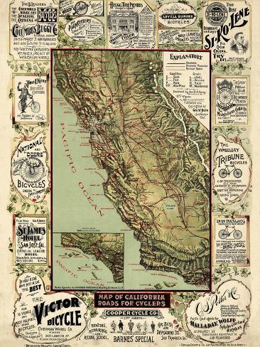 United States Map Roads.1895 California State Map Roads For Cyclers Bicycling California