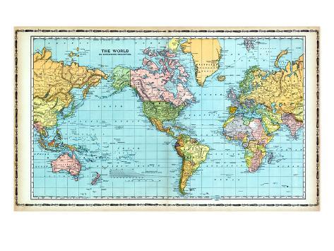 1906, World Map Giclee Print