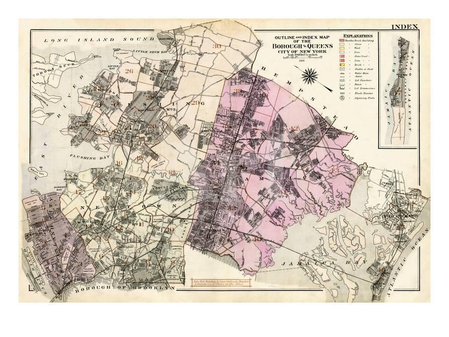 Map Of New York Showing Queens.1909 Queens New York United States