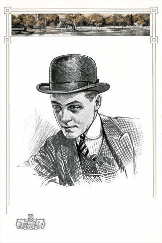 1910s Men's Hat Illustration Premium Giclee Print