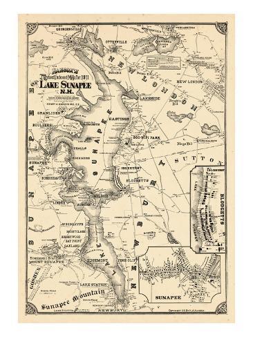 1911, Lake Sunapee, New Hampshire, United States Giclee Print