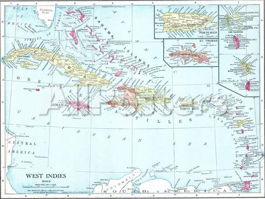 Map Of Florida Cuba And Puerto Rico.1913 Bahamas The Cuba Dominican Republic Jamaica Puerto Rico