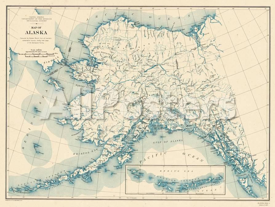 1941, Alaska State Map, Alaska, United States Giclee Print at ...