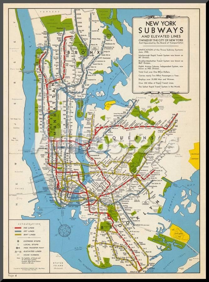 1949, New York Subway Map, New York, United States Mounted Print at ...