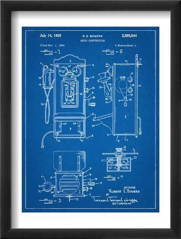 1950's Telephone Patent Framed Art Print
