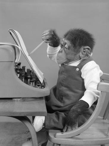 1950s Chimp in Overalls Sitting in Chair at Typewriter with Pencil and Steno Pad Stretched Canvas Print
