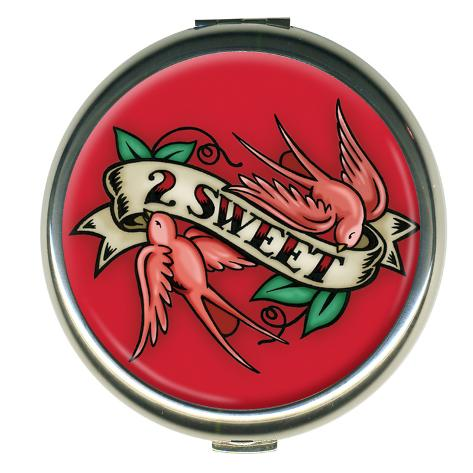 2 Sweet Red Round Compact Compact Mirror