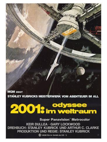 2001: A Space Odyssey, German Movie Poster, 1968 Premium-giclée-vedos
