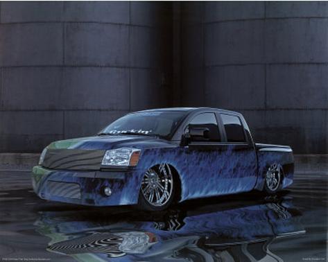 2004 Nissan Titan Blue Truck Art Print Poster Mini Poster