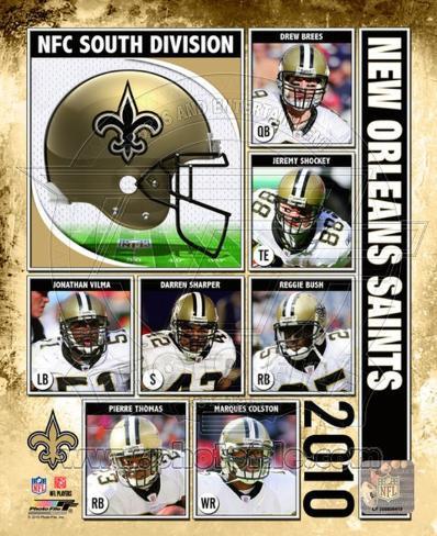 2010 New Orlenas Saints Team Composite Framed Photographic Print