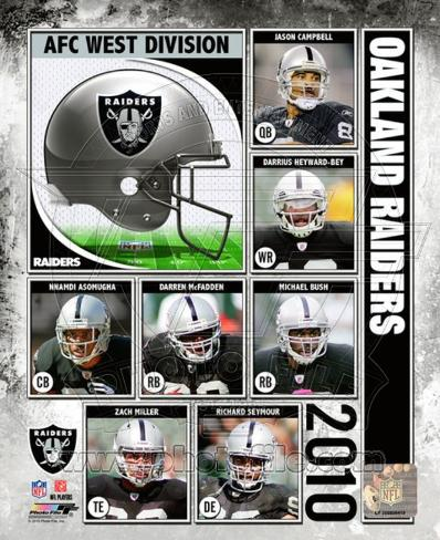 2010 Oakland Raiders Team Composite Framed Photographic Print