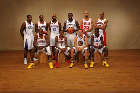 2011 NBA All Star: Tyreke Evans, Serge Ibaka, Wesley Matthews, James Harden, Brandon Jennings, DeJu Photographic Print
