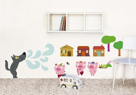 3 little pigs Wall Decal