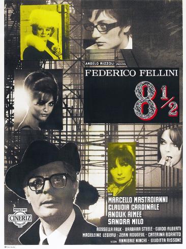 8 1/2, French poster, Marcello Mastroianni, 1963 Premium Giclee Print