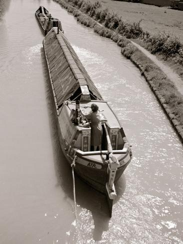 A Canal Boat Transporting Cargo Along the The Narrow Waterway Near Kings Langley, Hertfordshire Photographic Print