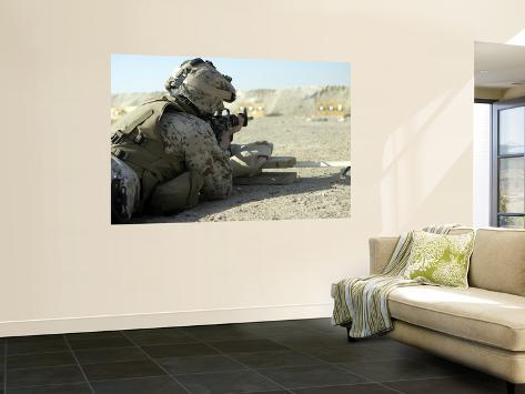 A Corpsman Fires His M16A2 Service Rifle to Acquire a Battle Sight Zero Wall Mural