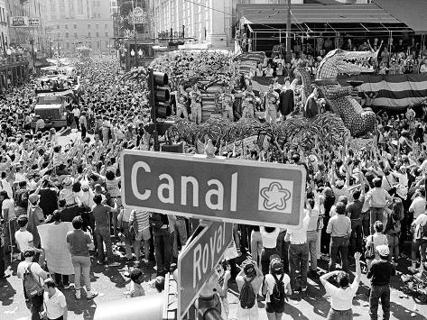 A Crowed Gathers as Floats Make Their Way Through Canal Street During the Mardi Gras Celebration Photographic Print