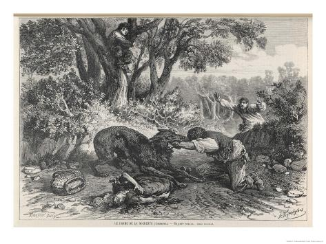 At La Rochette Three Country People Bitten by a Rabid Wolf Die in Agony Giclee Print