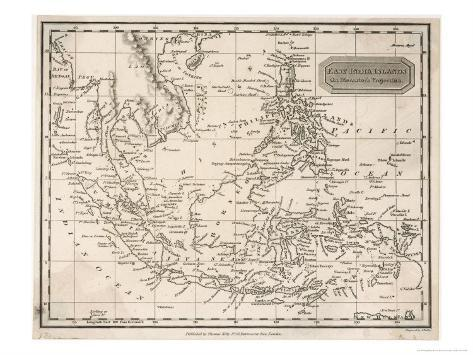 Map of the East India Islands Including the Philippines the Celebes Papua New Guinea Sumatra Giclee Print
