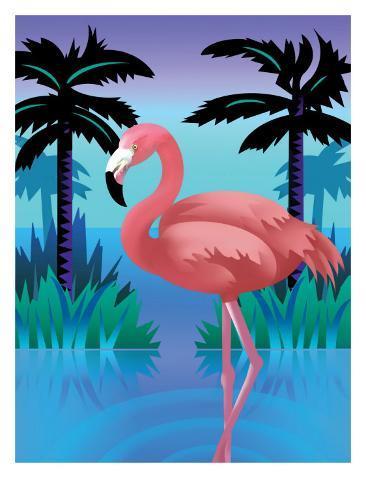 A Flamingo Standing in Water Art Print