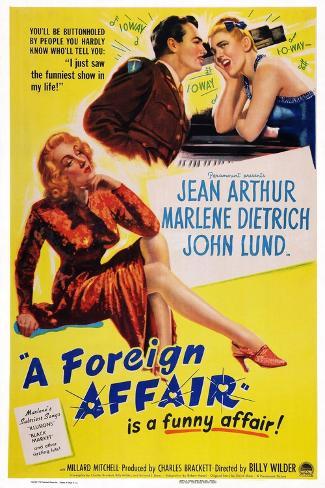 A Foreign Affair, Marlene Dietrich, John Lund, Jean Arthur, 1948 Art Print