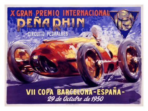 Pena Rhin Auto Racing, c.1950 Giclee Print