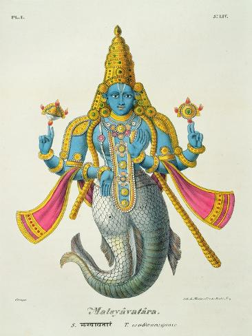 Matsyavatara or Matsya, from 'L'Inde Francaise...', Engraved by Marlet and Cie, Pub Paris 1827-1835 Giclee Print