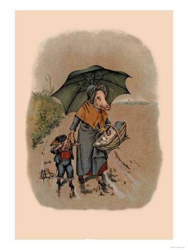 Mother Pig and Sad Little Pig Walking in the Rain Art Print