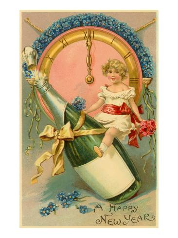 A Happy New Year, Victorian Girl on Champagne Bottle Art Print