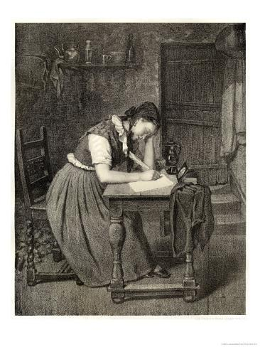Swedish Peasant Woman Writing with a Quill Giclee Print