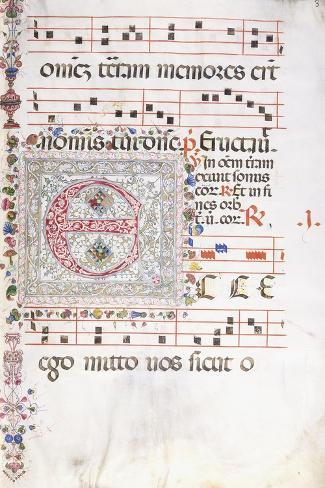 A Large Decorated Initial 'E', C.1500 Lámina giclée