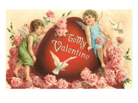 A mi Valentín, cupidos y corazón Lámina