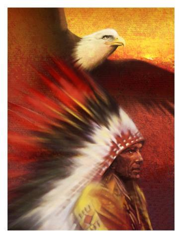 A Middle-Aged Adult Native American Male Wearing a Headdress with a Bald Eagle Flying Overhead Stampa artistica