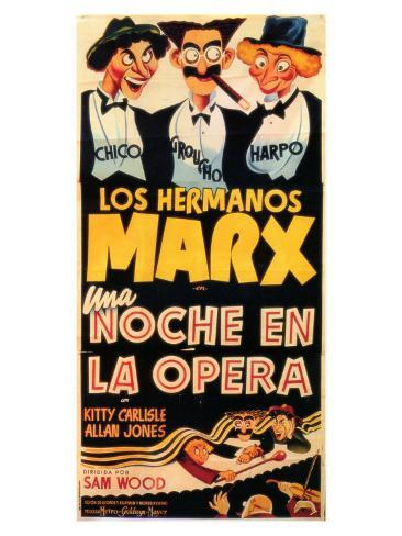 A Night At The Opera, Spanish Movie Poster, 1935 Art Print