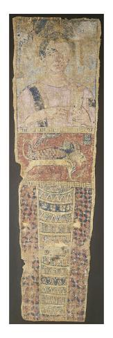 A Romano-Egyptian Painted Linen Mummy Portrait Depicting a Deceased Female in a Pink Dress Stretched Canvas Print