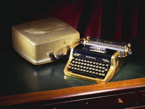 A Royal Quiet De Lux Portable Typewriter, with Gold Plated Body and Fittings, Owned by Ian Fleming Stretched Canvas Print