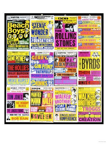 A Selection of British Concert Posters, 1960s Giclee Print