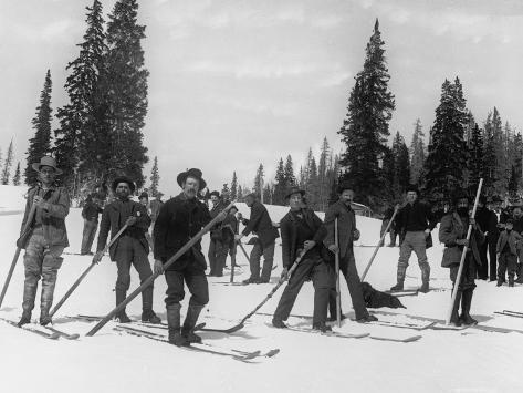 A Ski Brigade, C.1910-20 Photographic Print