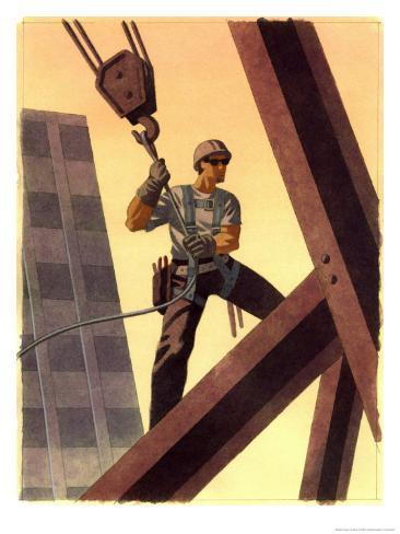 A Steel Worker Standing on Beams Art Print