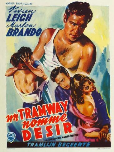 A Streetcar Named Desire, Belgian Movie Poster, 1951 Art Print