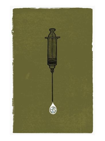 A Syringe with a Drip of Medicine That Has a Globe in It Stretched Canvas Print