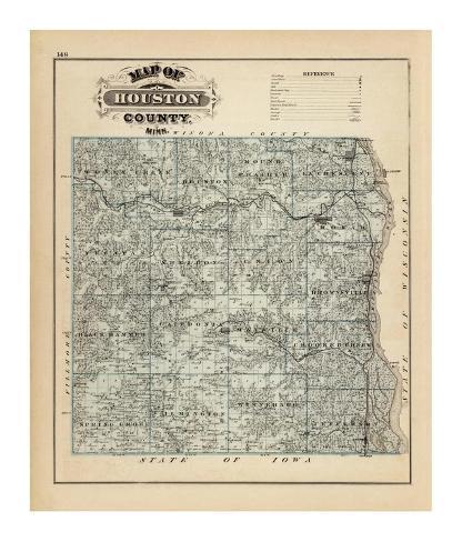 Map of Houston County, Minnesota, c.1874 Framed Giclee Print
