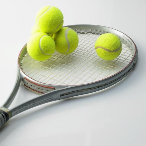A Tennis Racket and Balls Photographic Print