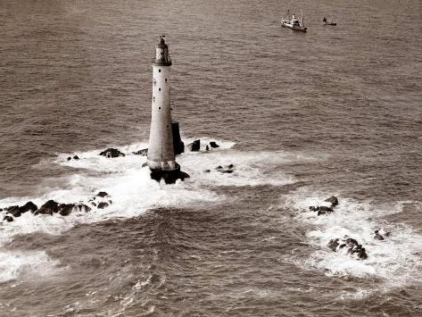 A Trinity House Steamer Waits off the Eddystone Lighthouse to Deliver Christmas Supplies, 1938 Photographic Print